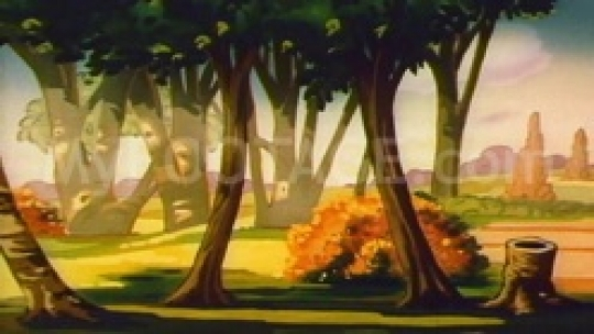 1950's CARTOON Wolf creeping behind trees searching..
