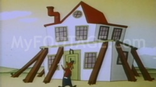 Vintage animated dog propping up house