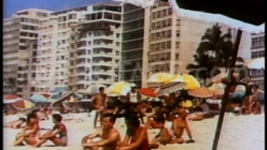 Vintage crowded beach resort